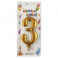 No.3 Metallic Gold Birthday Candle (Box 12pcs)