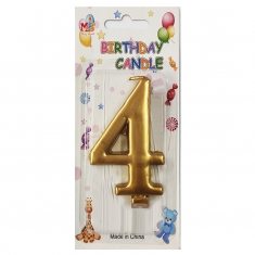 No.4 Metallic Gold Birthday Candle (Box 12pcs)