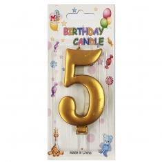 No.5 Metallic Gold Birthday Candle (Box 12pcs)