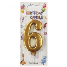 No.6 Metallic Gold Birthday Candle (Box 12pcs)