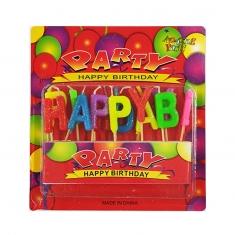 Πολύχρωμο Γκλίτερ Σετ 13τεμ Κεράκια Γενεθλίων Happy Birthday (Κουτί 24 τεμ.)