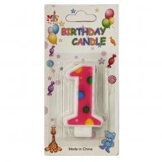 No.1 Colorful Dot Birthday Candle (Box 12pcs)