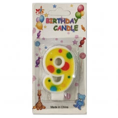 No.9 Colorful Dot Birthday Candle