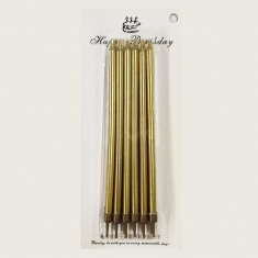 12 Long Gold Birthday Candles with Base 14cm. (Box 24pcs)