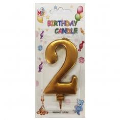 No.2 Metallic Gold Birthday Candle