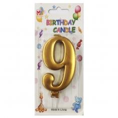 No.9 Metallic Gold Birthday Candle
