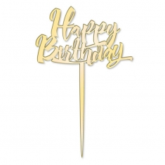 Happy Birthday Mirror Gold Cake Topper Katy Sue