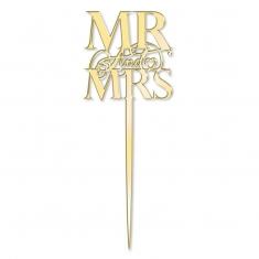 Elegant Mr & Mrs Mirror Gold Cake Topper  Katy Sue