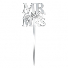 Elegant Mr & Mrs Mirror Silver Cake Topper Katy Sue