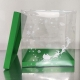 Printed Transparent Box 25xH26,5cm for Xmas gingerbread house with Green lid and base