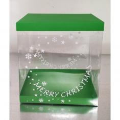 Εκτυπωμένο Κουτί 25xY26,5εκ. για Χριστουγεννιάτικα Σπιτάκια με Πράσινο Καπάκι-Πατο