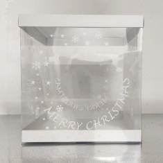 Printed Transparent Box 25xH26,5cm for Xmas gingerbread house with White lid and base