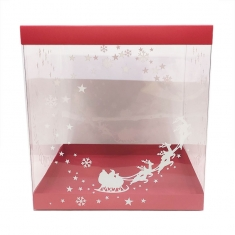 Printed Transparent Box 25xH26,5cm for Xmas gingerbread house with Red lid and base