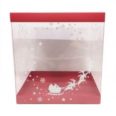 Εκτυπωμένο Κουτί 25xY26,5εκ. για Χριστουγεννιάτικα Σπιτάκια με Κόκκινο Καπάκι-Πατο