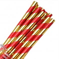 Κόκκινο - Χρυσό Μεταλλιζέ Ριγέ - Χάρτινα Καλαμάκια