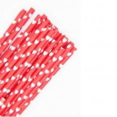 Χάρτινα Καλαμάκια με λευκές καρδούλες σε Κόκκινο Φόντο