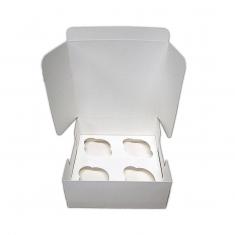 Λευκό Κουτί για 4 Cupcakes / Muffins με ένθετο χωρισμάτων