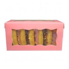 Ροζ Κουτί  Ντόνατς / Γλυκών με παράθυρο 20,3 x 10 x 10εκ.