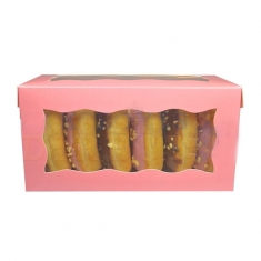 Pink Doughnut/Pastry Box with Window, 8x4x4in