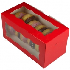 Red Doughnut/Pastry Box with Window, 8x4x4in