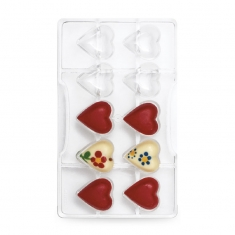 Hearts Chocolate Mould with 10 cav., by Decora
