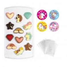 Σετ Decora για σοκολατάκια Μονόκερος με σακουλάκια & αυτοκόλλητα, 12 θέσεων