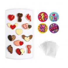 Σετ Decora για σοκολατάκια Καρδιές με σακουλάκια & αυτοκόλλητα, 12 θέσεων