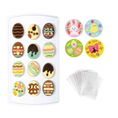 Σετ Decora για Πασχαλινά Σοκολατάκια Αυγά με σακουλάκια και αυτοκόλλητα, 12 θέσεων