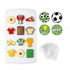 Σετ Decora Καλούπι για σοκολατάκια Ποδόσφαιρο  με σακουλάκια και αυτοκόλλητα, 12 θέσεων
