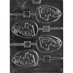 Rabbit on Egg Lollies Mold - Dim: 8,89 x 5,72 x 0,95cm