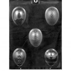 Sports Themed Eggs Chocolate  Mold - Dim.: 6,35 x 4,45 x 1,91cm