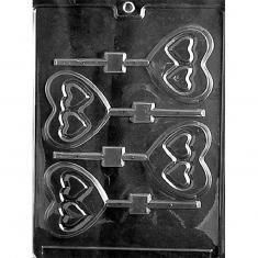Double Heart Lollies Mold - Dim.: 5,08 x 7,30 x 0,64cm