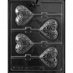 Heart Swirl Lollies Mold - Dim.: 7,30 x 6,35 x 1,27cm