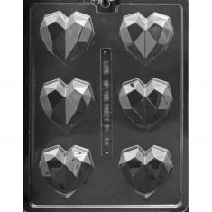 Geometric Heart Chocolates Mold 51gr - Dim.: 6,67 x 7,62 x 2,22cm