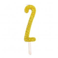 Χρυσό Κεράκι-Αριθμός με Glitter PME No.2, 8εκ.