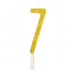 Χρυσό Κεράκι-Αριθμός με Glitter PME No.7, 8εκ.