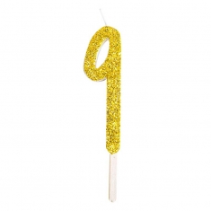 Gold Glitter Number Candle No.9, 8cm