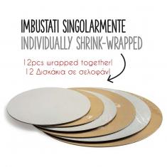 Set of 12pcs Round Boards D13cm. 1,5mm Double face Gold-Black