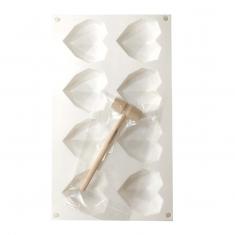 Mini Geometric Hearts 6,5cm 8pc Silicone Mould with mini Hammer