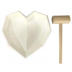 Γεωμετρική Καρδιά 19εκ.  Καλούπι Σιλικόνης με Ξύλινο Σφυρί