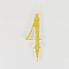 Gold Glitter Birthday Candle with Number 4