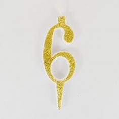 Χρυσό Γκλίτερ Κεράκι Γενεθλίων Νούμερο 6