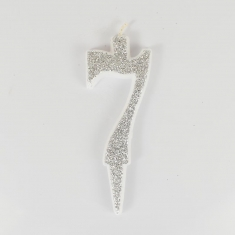 Silver Glitter Birthday Candle with Number 7