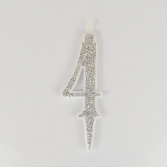 Silver Glitter Birthday Candle with Number 4
