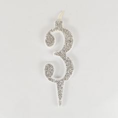 Silver Glitter Birthday Candle with Number 3