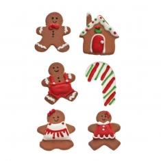 Σετ 6 Gingerbread Χριστουγεννιάτικα Βρώσιμα Διακοσμητικά της Decora 3-4εκ.