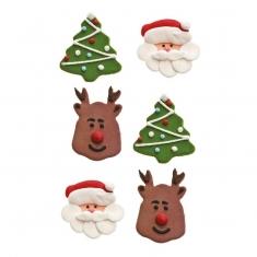 Σετ 6 Χριστουγεννιάτικα Βρώσιμα Διακοσμητικά Αι Βασίλης No2 της Decora 3,5-4εκ