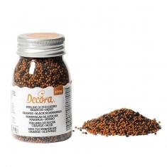 Orange/Black Mini Sugar Pearls by Decora Dim. 100g