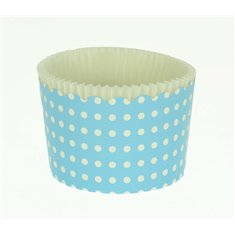 Large Cupcake Cups with anti-stick Baking Sheet D7xH4,5cm. - Light Blue with White Polka - 65pc