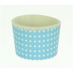 Κυπελάκια Cupcakes με καραμελόχαρτο Μεγάλα Δ7xΥ4,5εκ. - Γαλάζιο Λευκό Πουά - 65τεμ